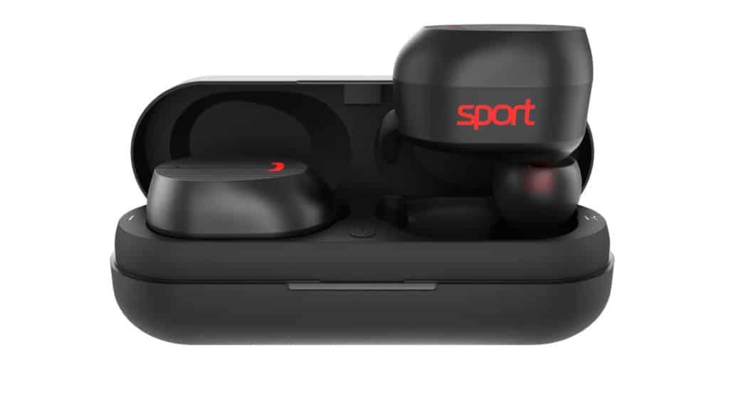 чёрные Elari NanoPods Sport в кейсе